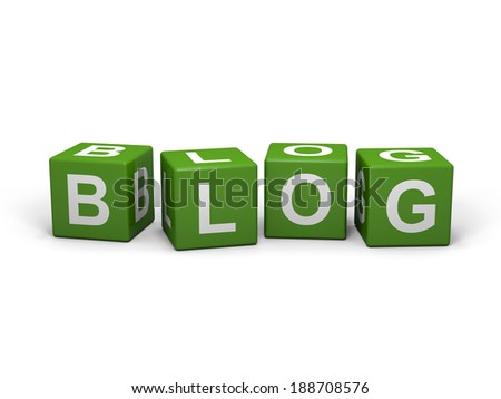 Green cubes with blog letters on a white background  - stock photo