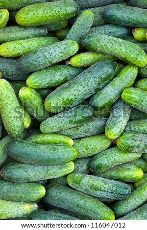 Green Cucumbers At A Street Market - stock photo