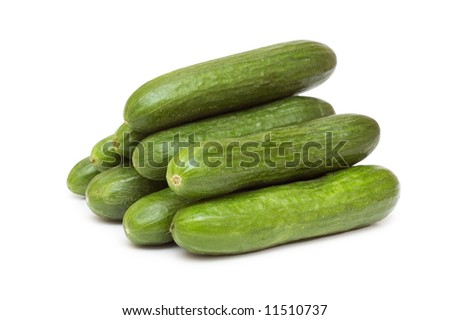 Green cucumbers isolated on the white background