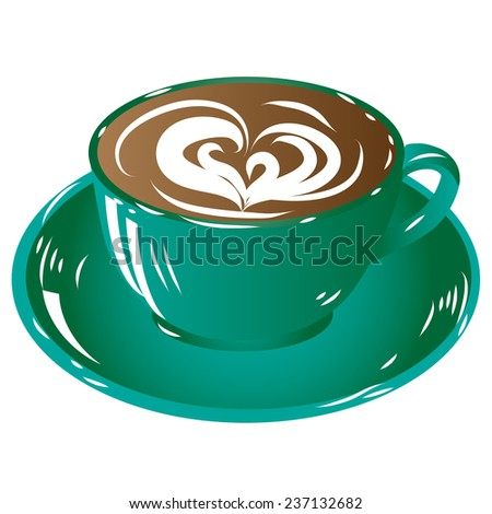 green cup coffee, hot drink chocolate icon isolated on white background raster illustration - stock photo