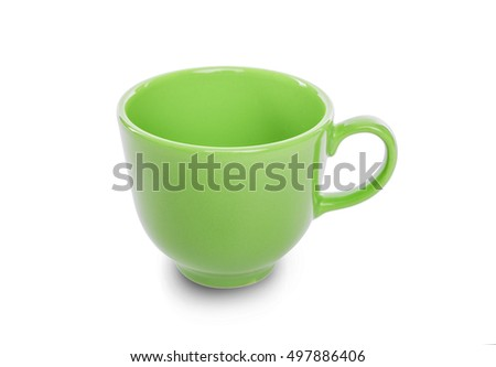 Green cup isolated on white background. Close-up.