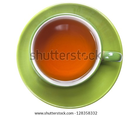 green cup of tea  isolated on  white - stock photo