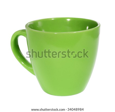 green Cup on the white background (isolated).