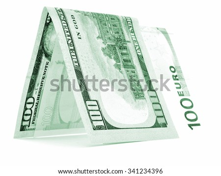 Green currency folded in half, money hut, banknote corner, isolated