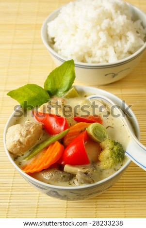 Green curry chicken - stock photo