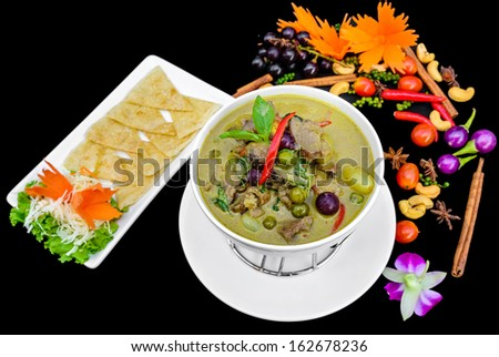 Green curry roast duck with southern flat bread - stock photo