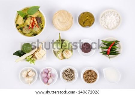 Green Curry With Chicken Recipes (Food Thailand). - stock photo