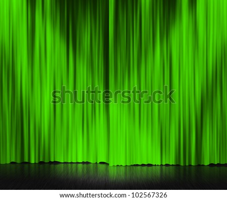 Green Curtain Stage Background - stock photo