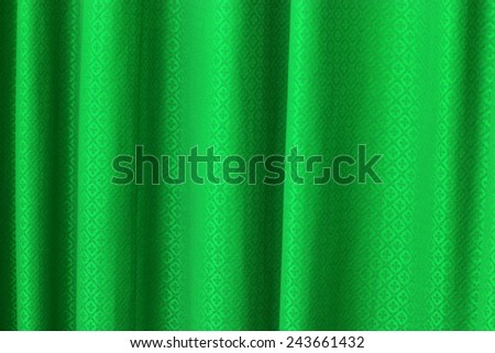 green curtain texture background - stock photo