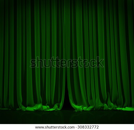 Green curtain with spot light on theater or cinema stage. - stock photo