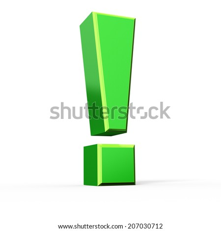 Green 3d exclamation mark , isolated on white - stock photo