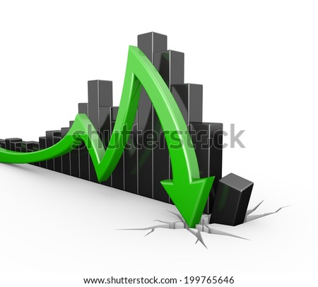 green 3d graph arrow breaking through the ground - stock photo
