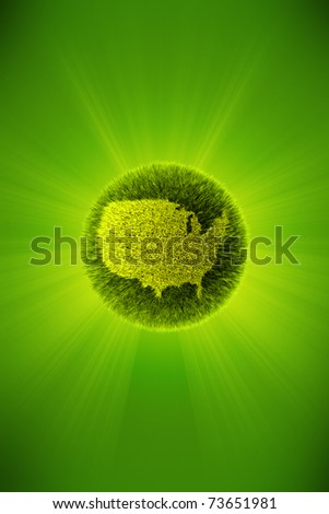 Green 3d planet concept, map of America - stock photo