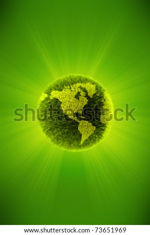 Green 3d planet concept, map of the world - stock photo