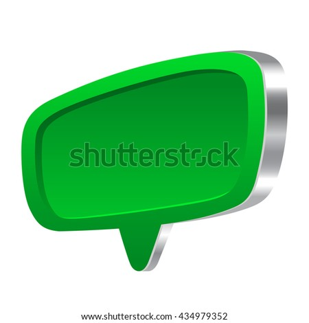 Green 3d speech abstract bubble glossy set - stock photo