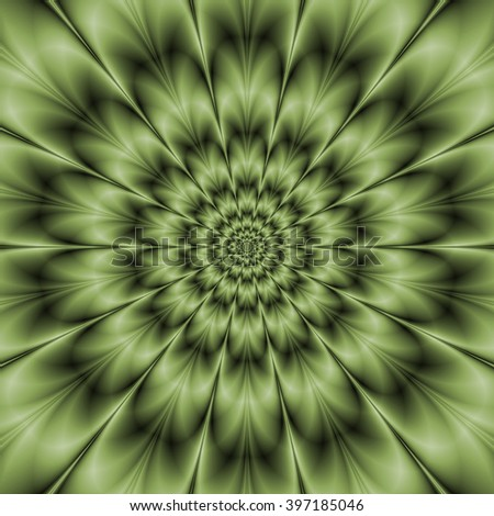 Green Daisy / A abstract fractal image with a monochrome flower design in green. - stock photo