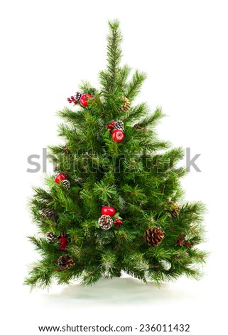 Green Decorated Christmas Tree Isolated on White Background. Closeup. - stock photo