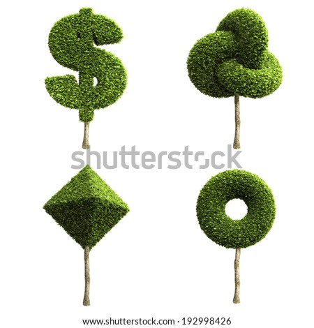Green decorative shrubs or trees of different shapes isolated on a white background - stock photo