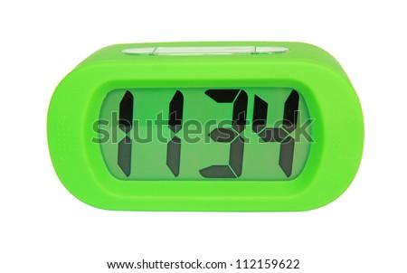 Green digital electronic clock - stock photo