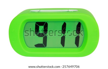 Green digital electronic clock isolated on white background - stock photo