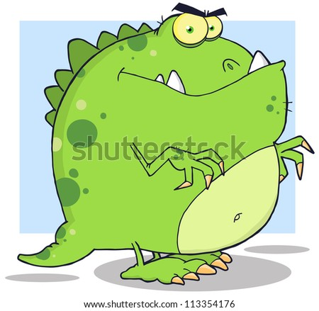 Green Dinosaur Cartoon Character. Raster Illustration.Vector version also available in portfolio. - stock photo