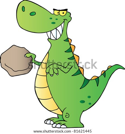 Green Dinosaur Cartoon Character.Raster illustration. Vector version is also available - stock photo