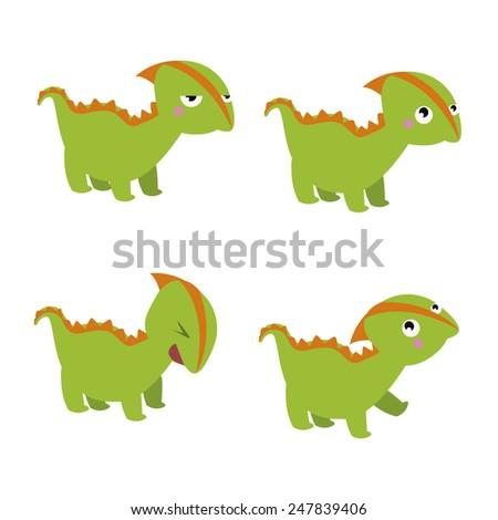 Green dinosaur characters - stock photo