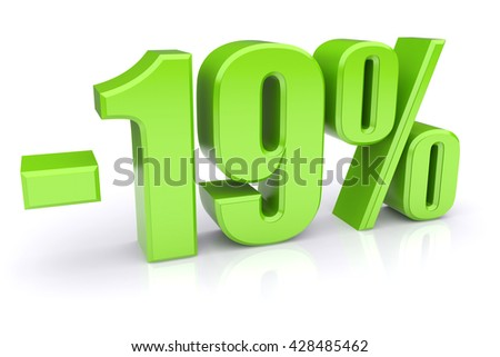 Green 19% discount icon on a white background. 3d rendered image