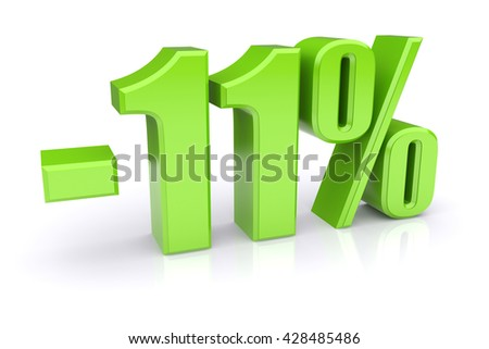 Green 11% discount icon on a white background. 3d rendered image