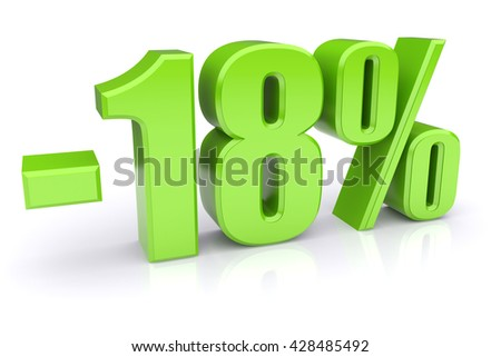Green 18% discount icon on a white background. 3d rendered image