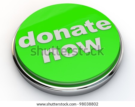 green donate now button with chrome over white Background - stock photo