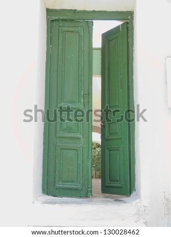 green door, Mykonos island, Greece - stock photo