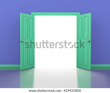 green door opening and purple wall interior 3d rendering - stock photo