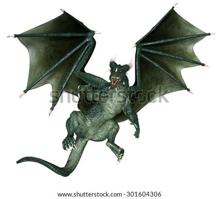 Green Dragon - 3D rendered fantasy creature - stock photo