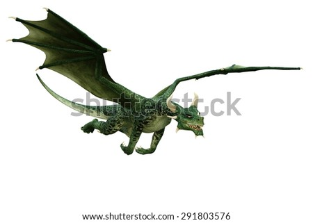green dragon flying out - stock photo