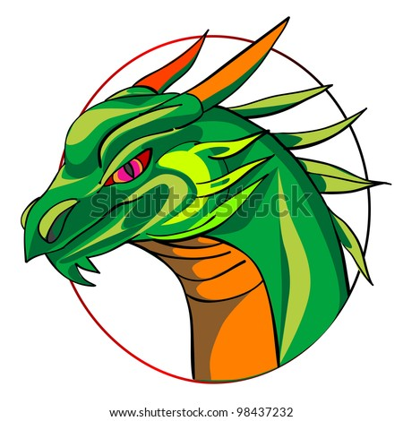 green dragon head, chinese zodiac sign isolated on white
