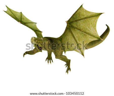 green dragon in action - stock photo