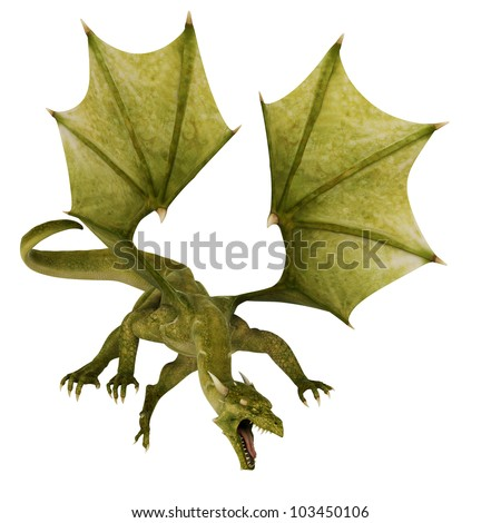 green dragon in attack - stock photo