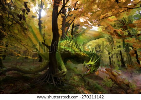 green dragon in forest - stock photo