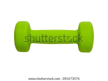 green dumbbell for fitness, isolated on white background - stock photo