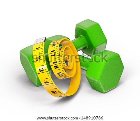 green dumbell isolated with a centimeter on  white - stock photo