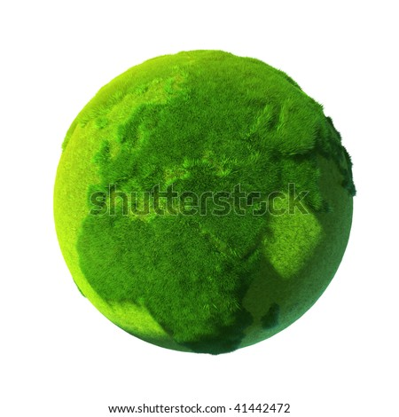 Green Earth, covered with grass - stock photo