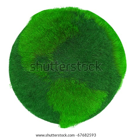 Green Earth, covered with grass. Digitally Generated Image.