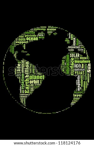 Green earth in word collage - stock photo