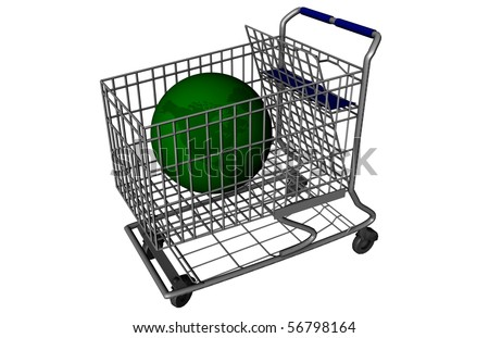 Green earth inside of a shopping cart.