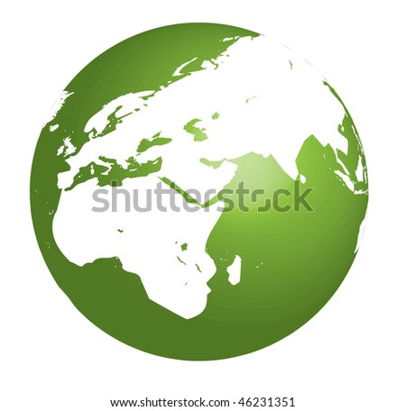 Green Earth vector illustration on white background - stock photo