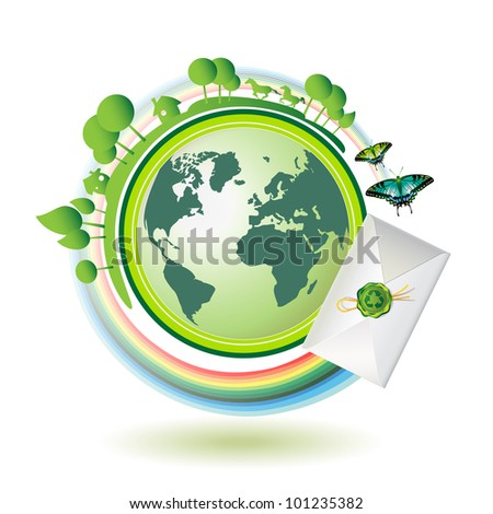 Green earth with butterflies and envelope - stock photo