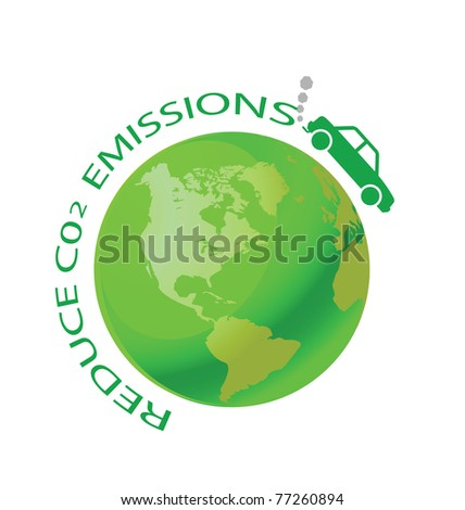Green earth with car reduce CO2 message