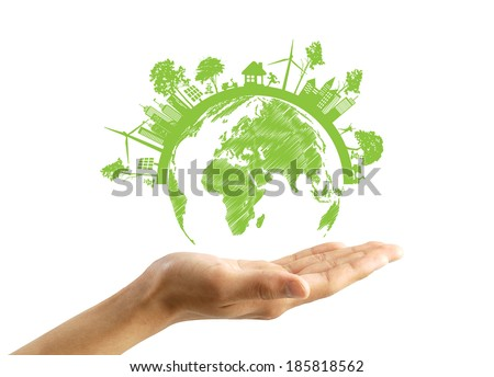 Green Eco Earth, Isolated On White Background - stock photo