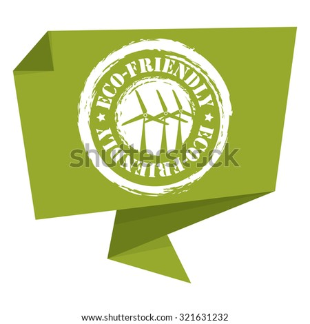 Green Eco-Friendly Paper Origami Speech Bubble or Speech Balloon Infographics Sticker, Label, Sign or Icon Isolated on White Background - stock photo